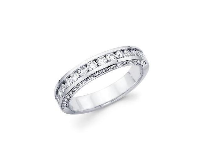 14k White Gold Round Diamond Wedding Ring Band 1.0 ct (G-H Color, SI2 Clarity)