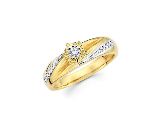 14k Yellow Two Tone Gold Diamond Engagement Ring .19 ct (G-H Color, SI2 Clarity)