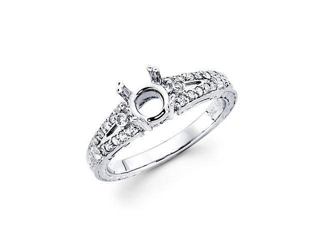 1/4ct Diamond (G-H, SI2) 18k White Gold Engagement Semi Mount Ring Setting - Fits Round 1.5ct Center