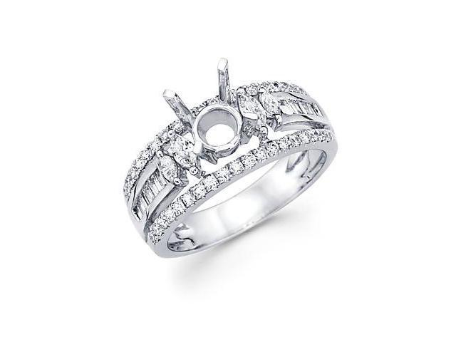 2/3ct Diamond (G-H, SI1) 18k White Gold Engagement Semi Mount Ring - Fits Round 1.0ct Center Setting