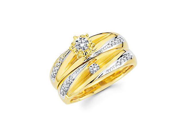.35ct Diamond 14k Yellow Gold Engagement Wedding Two Ring Set (G-H Color, SI2 Clarity)
