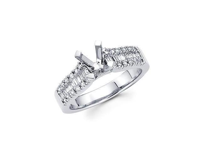 0.45ct Diamond 18k White Gold Engagement Semi Mount Ring Setting (G-H Color, SI2 Clarity)