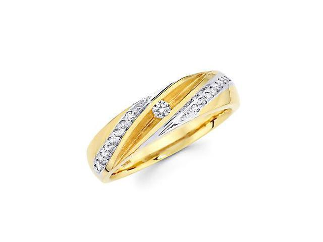 14k Yellow Gold Mens Matching Diamond Wedding Ring Band .21 ct (G-H Color, SI2 Clarity)