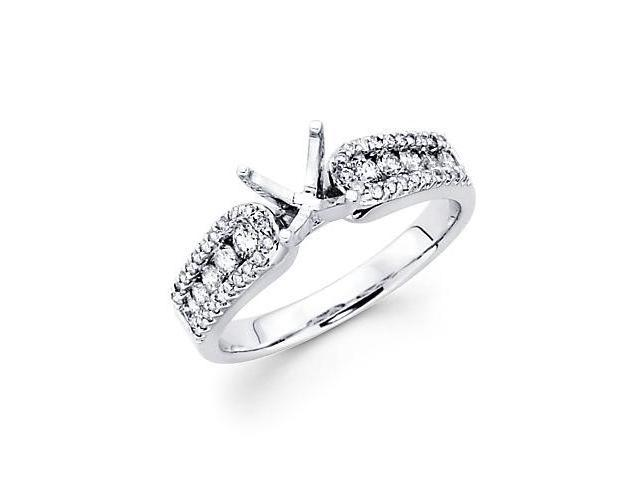 0.47ct Diamond 18k White Gold Engagement Semi Mount Ring Setting (G-H Color, SI2 Clarity)