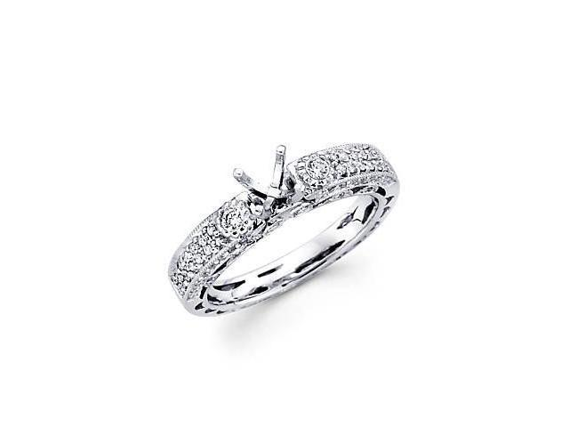 0.43ct Diamond 18k White Gold Engagement Semi Mount Ring Setting (G-H Color, SI2 Clarity)