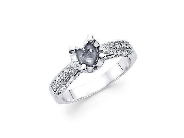0.57ct Diamond 18k White Gold Engagement Semi Mount Ring Setting (G-H Color, SI2 Clarity)