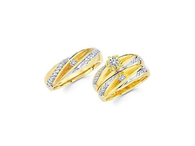 .56ct Diamond 14k Two Tone Gold Engagement Wedding Trio His and Hers 3 Ring Set (G-H, SI2)