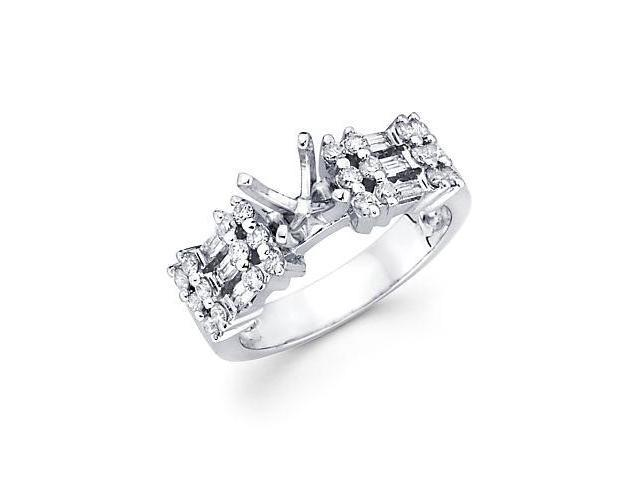 1/2ct Diamond 18k White Gold Engagement Semi Mount Ring Setting (G-H Color, SI2 Clarity)
