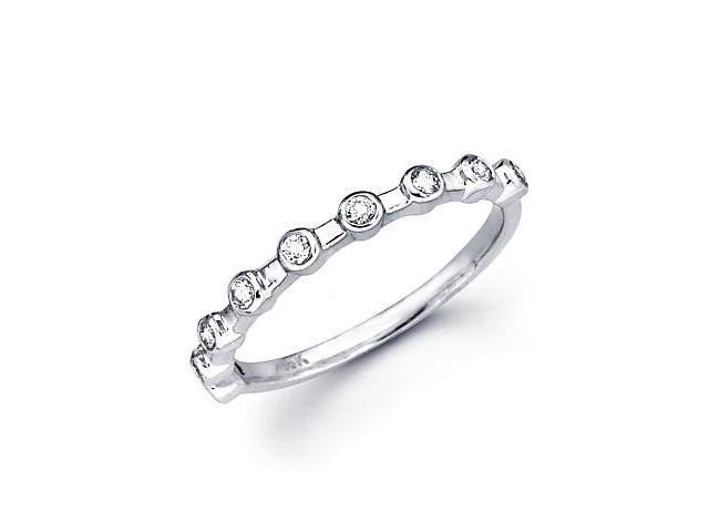0.16ct Diamond 18k White Gold Wedding Ring Band Matching J (G-H Color, SI2 Clarity)