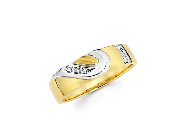 .05ct Diamond 14k Gold Half Heart Matching Wedding Ring Band (G-H Color, SI2 Clarity)