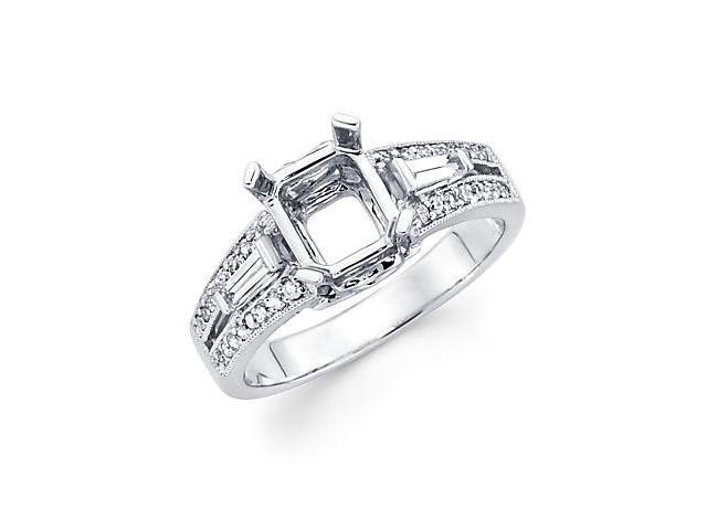 0.38ct Diamond (G-H, SI2) 18k White Gold Emerald Engagement Ring Setting - Fits Round 1 Ct Center