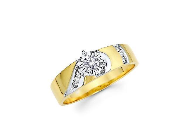 .14ct Diamond 14k Gold Half Heart Matching Engagement Ring (G-H Color, SI2 Clarity)