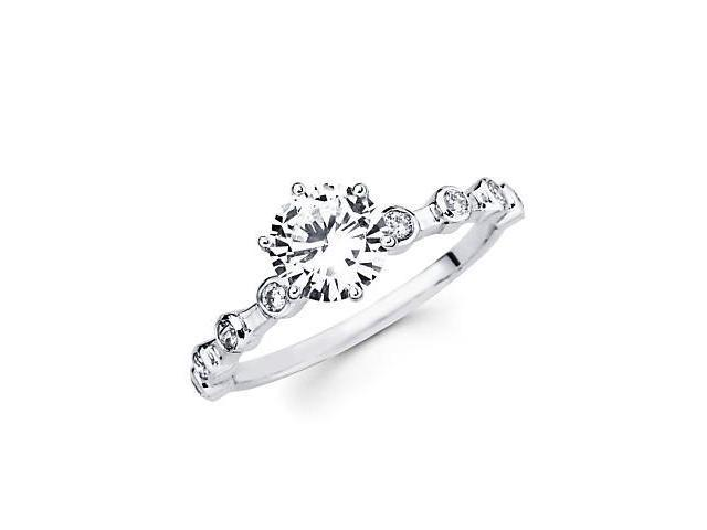 1/2 ct Diamond 18k White Gold Engagement Wedding Ring Band Set - Center Stone Not Included