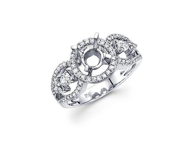 18k White Gold .59ct Diamond (G-H, SI2) Engagement Semi Mount Ring Setting - Fits Round 1ct Center