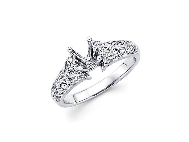 0.57ct Diamond 14k White Gold Engagement Semi Mount Ring Setting (G-H Color, SI2 Clarity)