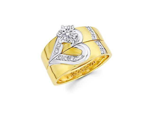 .19ct Diamond 14k Gold Heart Engagement Wedding Two Ring Set (G-H Color, SI2 Clarity)
