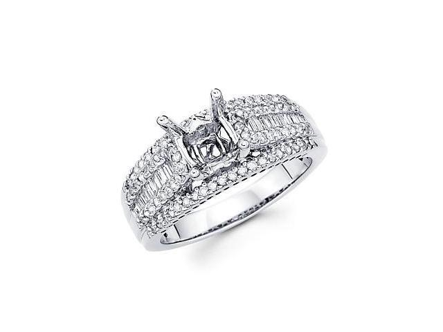 0.61ct Diamond (G-H, SI2) 18k White Gold Engagement Semi Mount Ring Setting - Fits Round 1 Ct Center