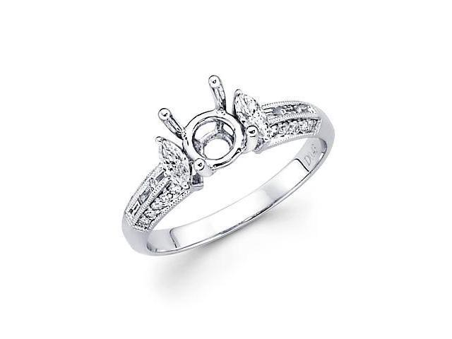 0.49ct Diamond (G-H, SI2) 18k White Gold Engagement Semi Mount Ring Setting - Fits Round 1 Ct Center