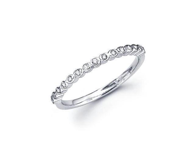0.16ct Diamond 18k White Gold Wedding Ring Band Matching K (G-H Color, SI2 Clarity)