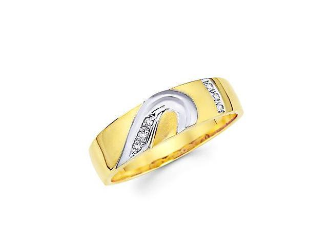 .05ct Diamond 14k Gold Mens Half Heart Matching Wedding Ring Band (G-H Color, SI2 Clarity)