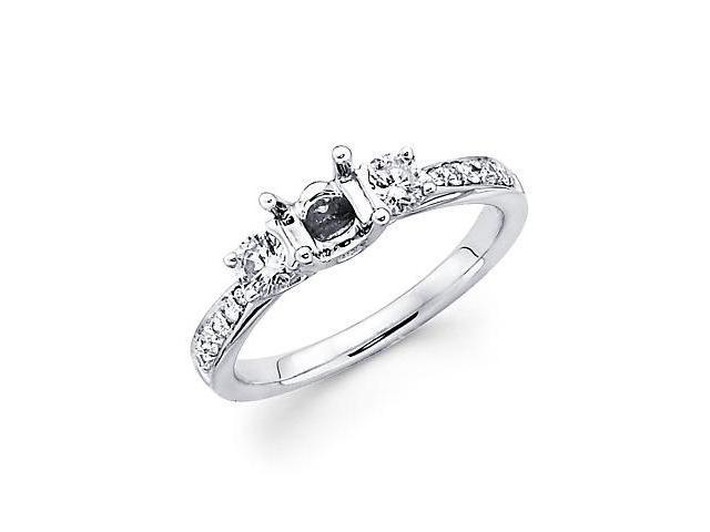 .41ct Diamond (G-H, SI2) 18k White Gold Engagement Semi Mount Ring Setting - Fits Round 1/2ct Center