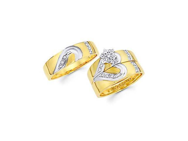 1/4ct Diamond 14k Gold Heart Engagement Wedding Trio His and Hers 3 Ring Set (G-H, SI2)