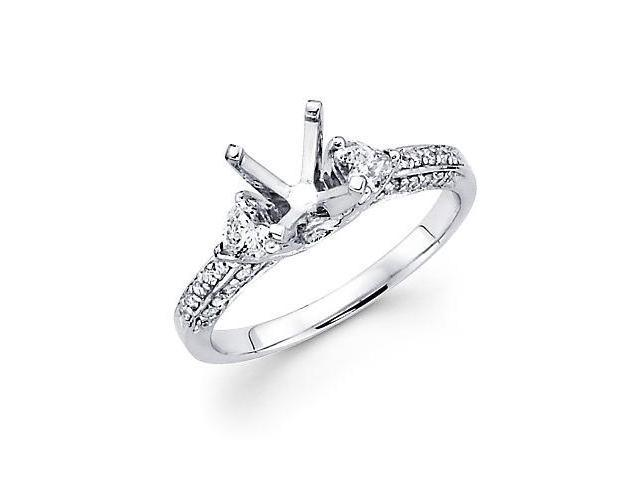 0.64ct Diamond 18k White Gold Engagement Semi Mount Ring Setting (G-H Color, SI2 Clarity)