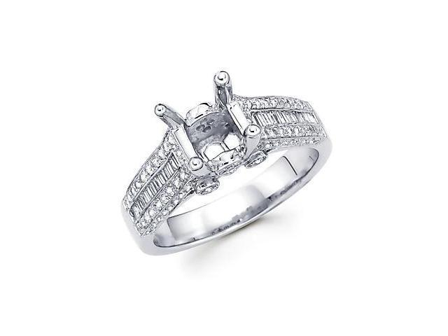 0.78ct Diamond (G-H, SI2) 18k White Gold Engagement Semi Mount Ring Setting - Fits Round 1 Ct Center