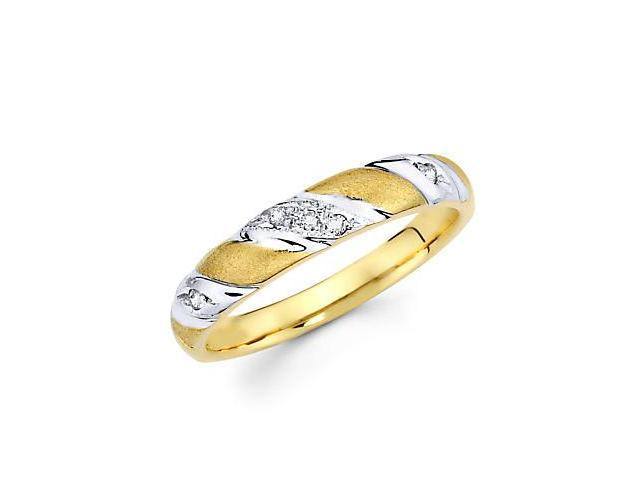 .05ct Diamond 14k Yellow and White Gold Wedding Ring Band (G-H Color, SI2 Clarity)