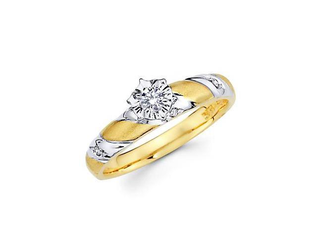 14k Yellow Two Tone Gold Diamond Engagement Ring .14 ct (G-H Color, SI2 Clarity)