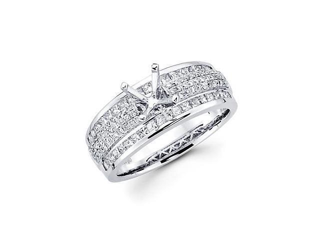 0.98ct Diamond (G-H, SI2) 18k White Gold Engagement Semi Mount Ring Setting - Fits Round 1 Ct Center