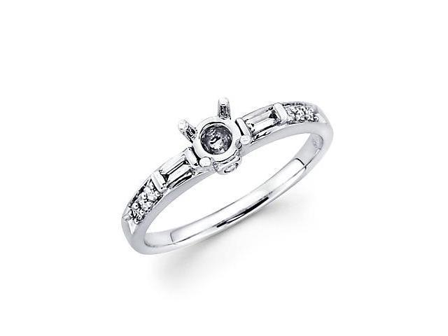 1/5ct Diamond (G-H, SI2) 18k White Gold Engagement Semi Mount Ring Setting - Fits Round .30ct Center