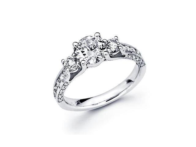 18k White Gold Diamond Engagement Semi Mount Ring Setting - Round 1.00 Ct Center Stone Not Included