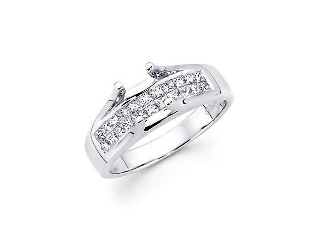 .65ct Diamond (G-H, SI1) 18k White Gold Princess Cut Engagement Ring Setting -Fits Round 1 Ct Center