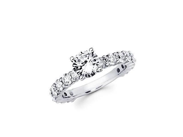 1.65ct Diamond 18k White Gold Engagement Ring Semi Mounting L- 1ct Center Stone Not Included