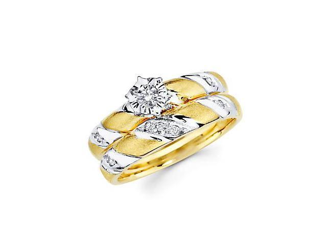 .19ct Diamond 14k Yellow Gold Engagement Wedding Two Ring Set (G-H Color, SI2 Clarity)