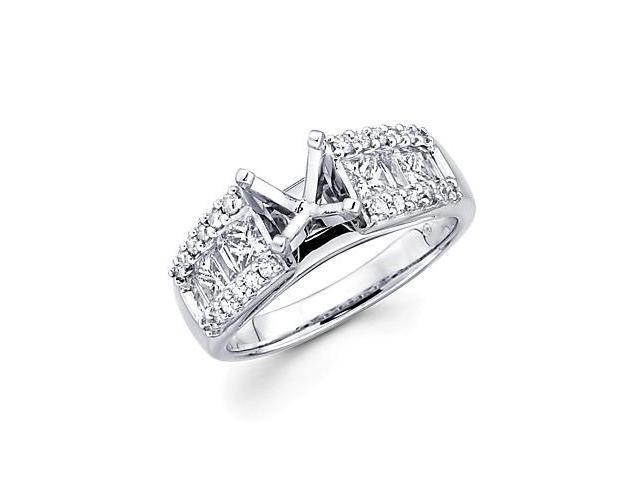 0.89ct Diamond 18k White Gold Engagement Semi Mount Ring Setting (G-H Color, SI2 Clarity)