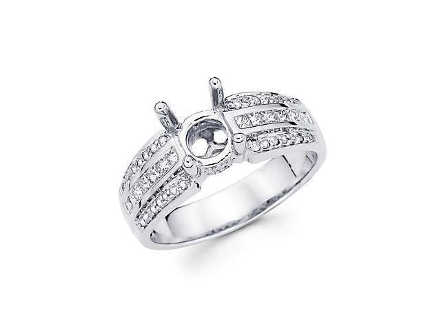 0.48ct Diamond (G-H, SI2) 18k White Gold Engagement Semi Mount Ring Setting - Fits Round 1 Ct Center