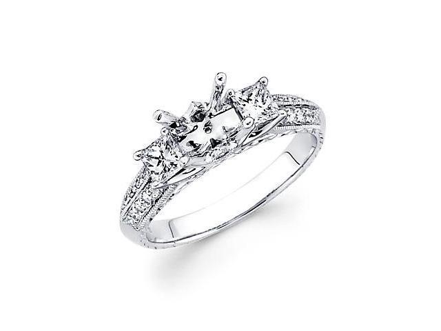 0.55ct Diamond (G-H, SI2) 18k White Gold Engagement Semi Mount Ring Setting - Fits Round 1 Ct Center