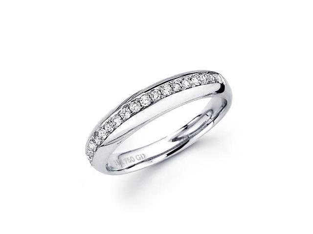 0.21ct Diamond 18k White Gold Wedding Ring Band Matching M (G-H Color, SI2 Clarity)