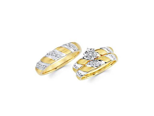 .29ct Diamond 14k Two Tone Gold Engagement Wedding Trio His and Hers 3 Ring Set (G-H, SI2)