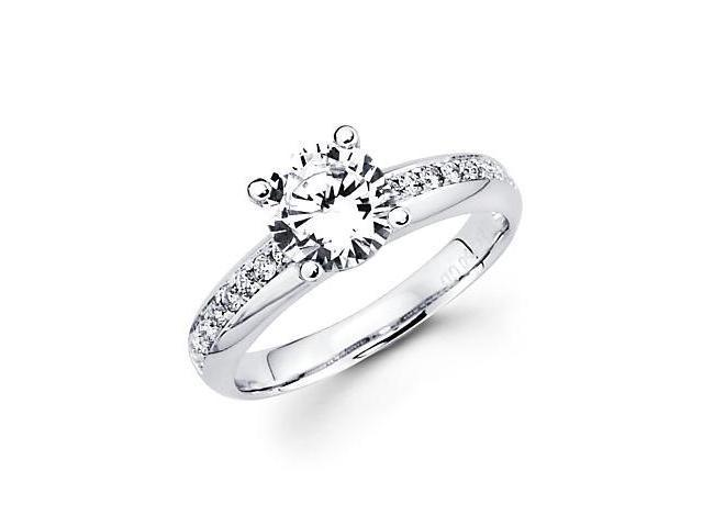 .17ct Diamond 18k White Gold Engagement Ring Semi Mounting M - 1ct Center Stone Not Included