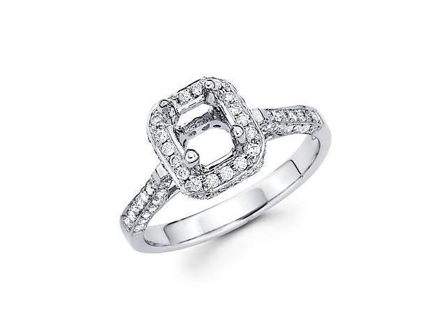 0.69ct Diamond (G-H, SI2) 18k White Gold Emerald Engagement Ring Setting - Fits Round 1 Ct Center