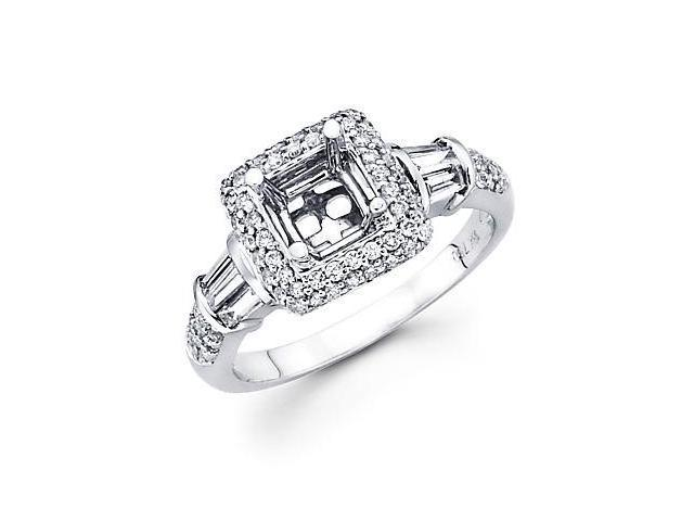 0.60ct Diamond (G-H, SI2) 18k White Gold Princess Engagement Ring Setting - Fits Round 1 Ct Center