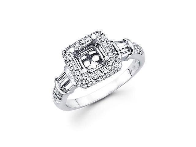 0.60ct Diamond (G-H, SI2) 18k White Gold Princess Engagement Ring Setting - Fits Round 1 Ct Center