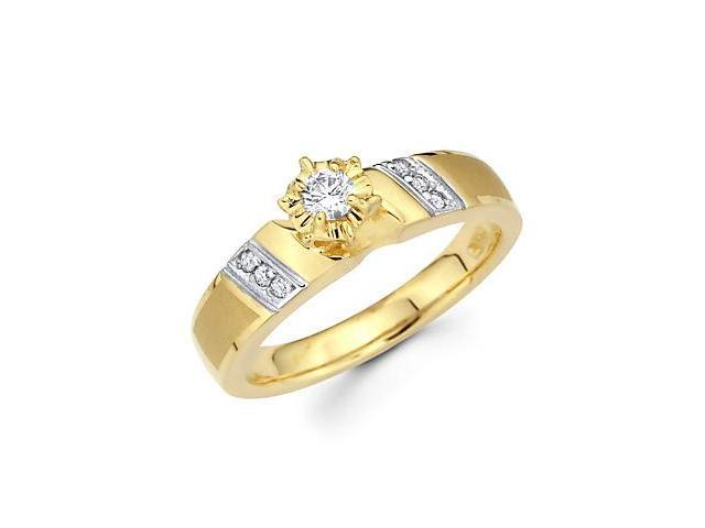14k Yellow Two Tone Gold Diamond Engagement Ring .17 ct (G-H Color, SI2 Clarity)