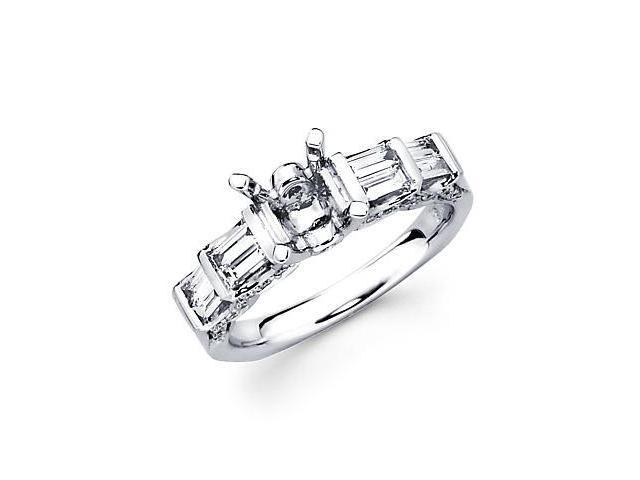 3/4ct Diamond (G-H, SI2) 18k White Gold Engagement Semi Mount Ring Setting - Fits Round 1.5ct Center