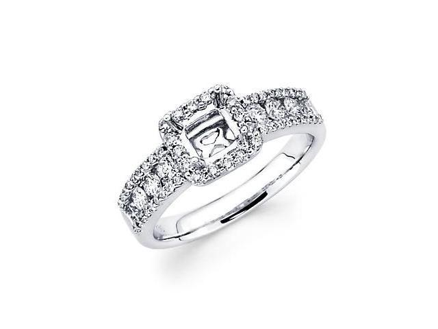 0.80ct Diamond (G-H, SI2) 18k White Gold Princess Engagement Ring Setting - Fits Round 1 Ct Center