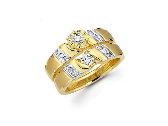 .43ct Diamond 14k Yellow Gold Engagement Wedding Two Ring Set (G-H Color, SI2 Clarity)