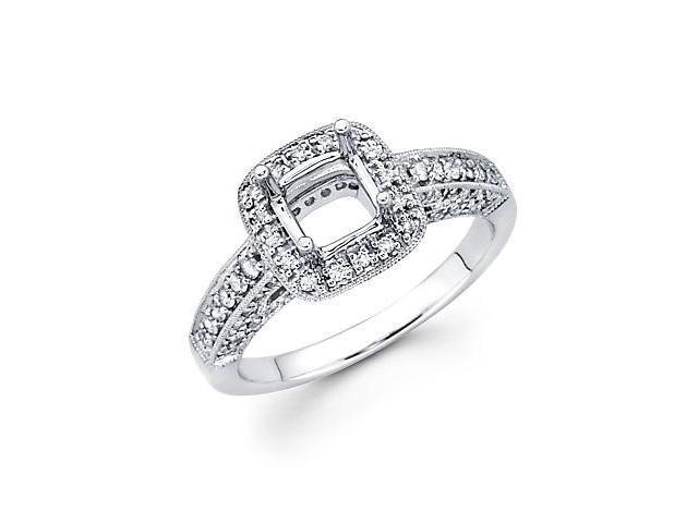 3/4ct Diamond (G-H, SI2) 18k White Gold Engagement Semi Mount Ring Setting - Fits Round 1 Ct Center